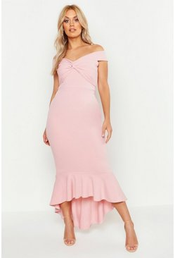 Plus Bardot Knot Front Dip Hem Maxi Dress, Soft pink, Donna