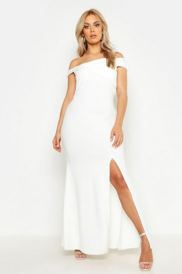 Womens White Plus Bardot Extreme Split Maxi Dress