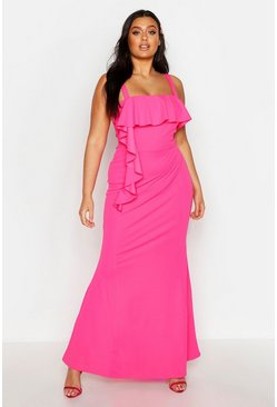 Womens Hot pink Plus Square Neck Ruffle Front Maxi Dress