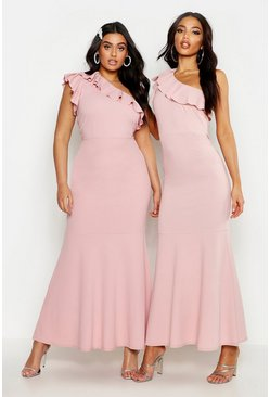 Womens Soft pink Plus One Shoulder Ruffle Maxi Dress