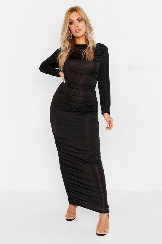 Womens Black Plus Ruched Side Midi Dress