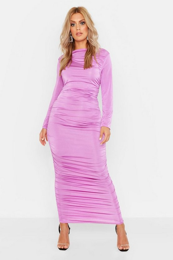 Womens Lilac Plus Ruched Side Midi Dress