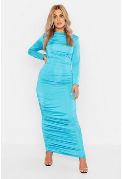 Womens Turquoise Plus Ruched Side Midi Dress