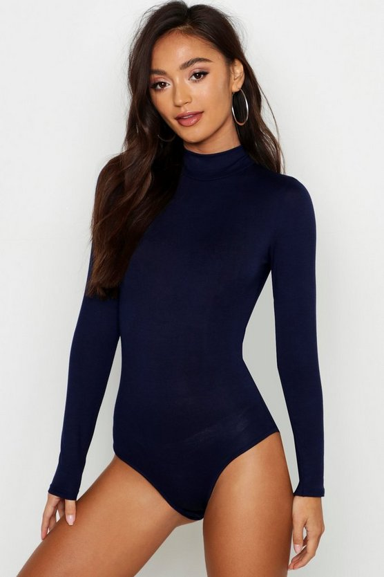 Womens Navy Petite Turtle Neck Long Sleeve Bodysuit