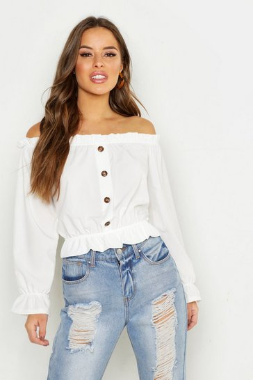 Womens White Petite Off The Shoulder Button Through Top