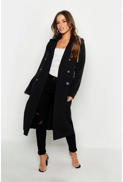 Womens Black Petite Utility Button Detail Trench Coat