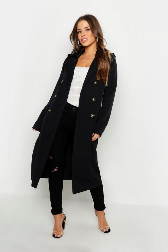 Petite Utility Button Detail Trench Coat by Boohoo
