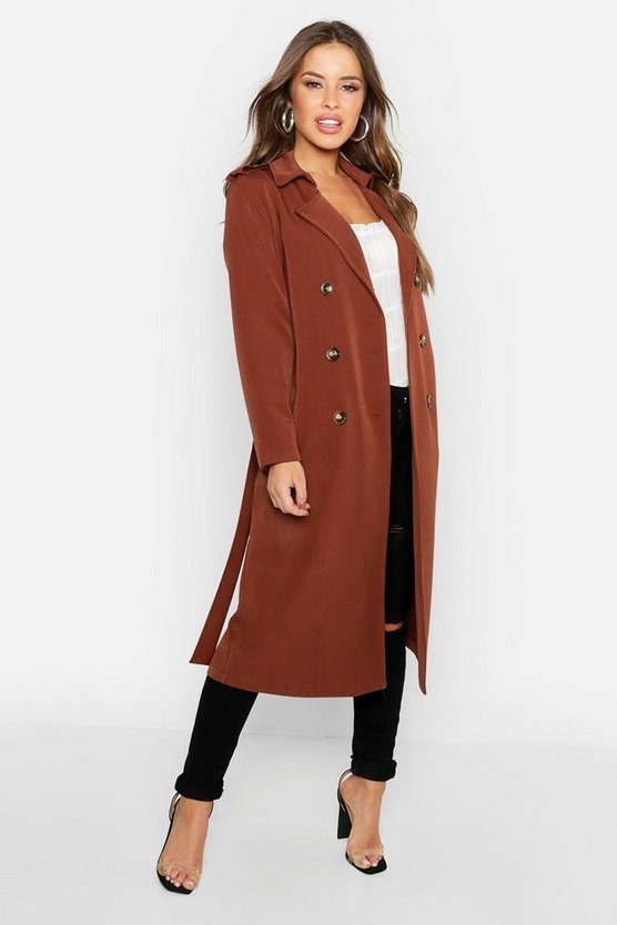 Womens Camel Petite Utility Button Detail Trench Coat