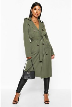 Womens Khaki Petite Utility Button Detail Trench Coat
