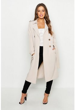 Petite Utility Button Detail Trench Coat, Stone, Donna