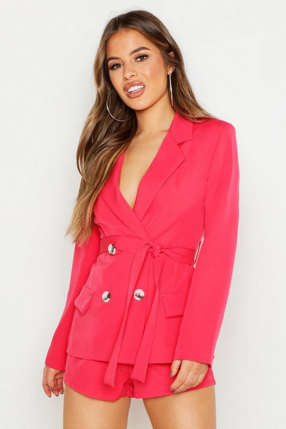 Womens Coral Petite Double Breasted Tie Blazer