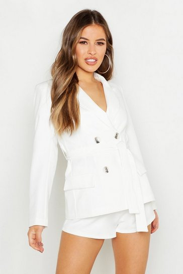 Womens White Petite Double Breasted Tie Blazer