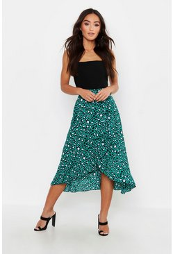 Green Petite Tie Front Animal Ruffle Midaxi Skirt