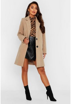 Womens Petite Button Detail Camel Duster Coat
