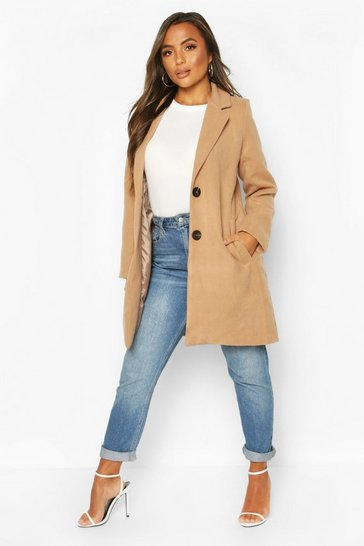 Taupe Petite Button Detail Camel Duster Coat