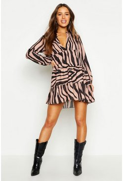 Tan Petite Tiger Print Smock Dress