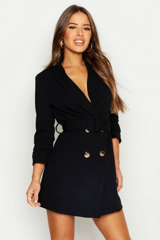 Womens Black Petite Self Belt Button Blazer Dress