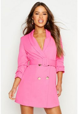Womens Hot pink Petite Self Belt Button Blazer Dress