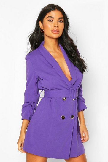 Purple Petite Self Belt Button Blazer Dress