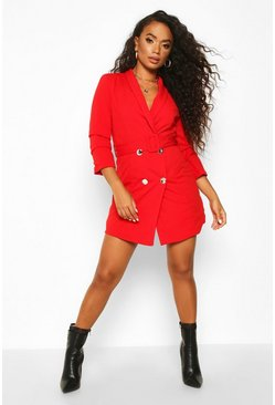 Womens Red Petite Self Belt Button Blazer Dress