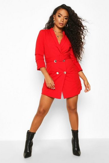 Red Petite Self Belt Button Blazer Dress