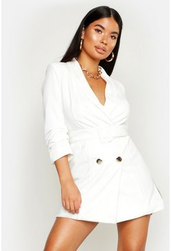 Womens White Petite Self Belt Button Blazer Dress