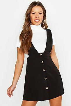 1960s Dresses | 60s Dresses Mod, Mini, Jackie O, Hippie Petite Plunge Front Button Pinafore Dress $30.00 AT vintagedancer.com
