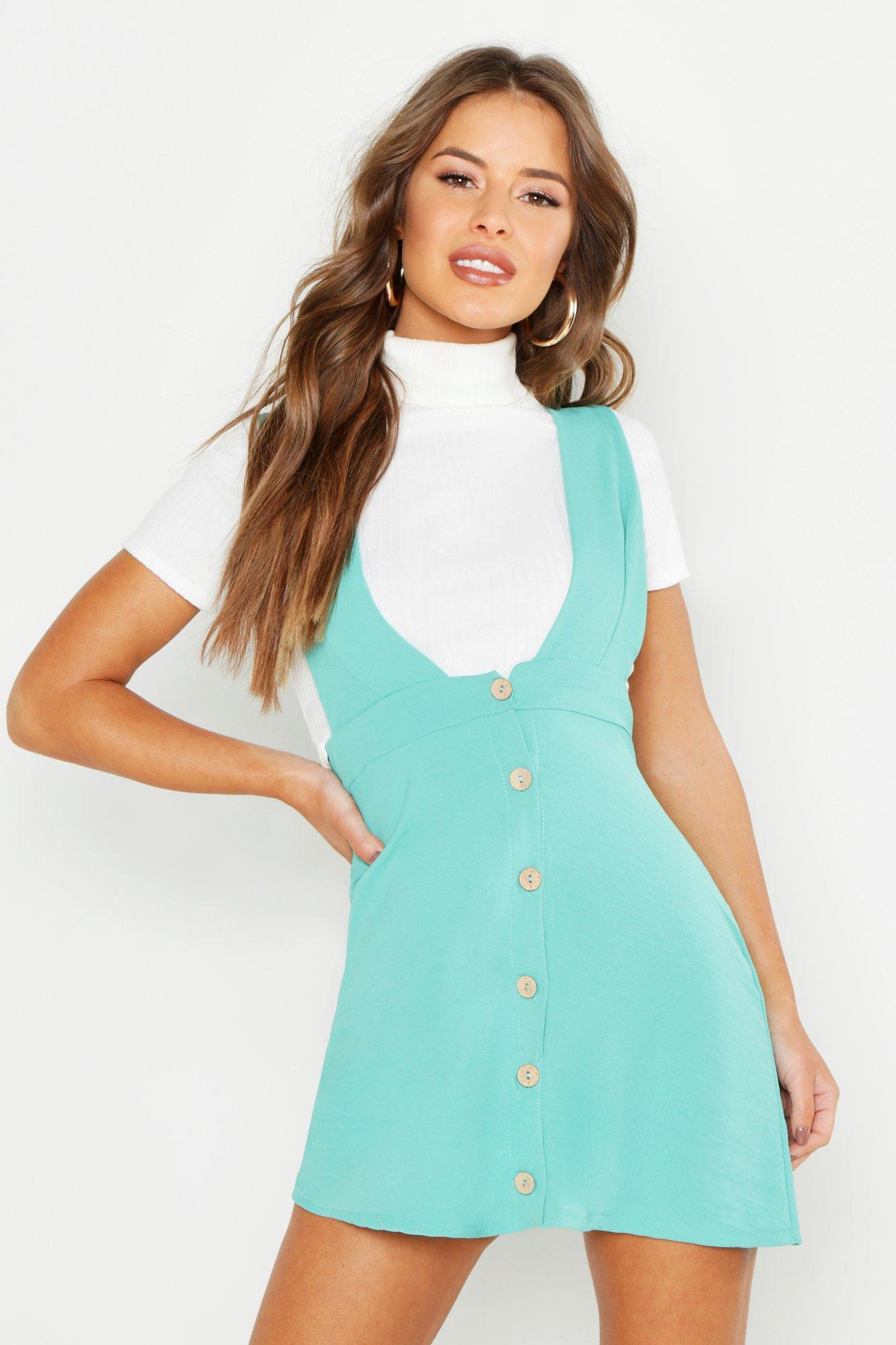 60s Dresses & 60s Style Dresses UK Petite Plunge Front Button Pinafore Dress  AT vintagedancer.com
