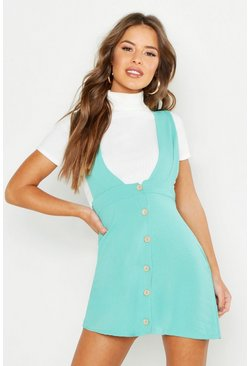 Womens Turquoise Petite Plunge Front Button Pinafore Dress