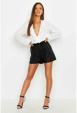 Womens Black Petite PU Tie Waist Short