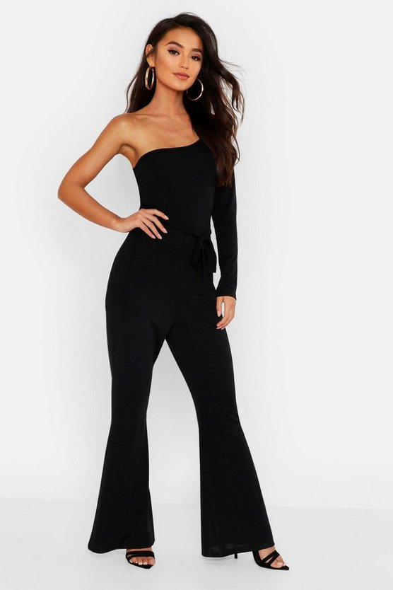 Womens Black Petite Slinky One Shoulder Flare Jumpsuit