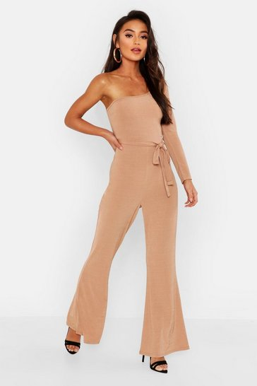 Womens Camel Petite Slinky One Shoulder Flare Jumpsuit