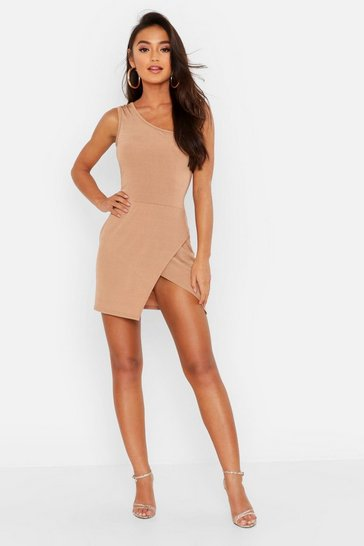 Womens Camel Petite Slinky One Shoulder Split Mini Dress