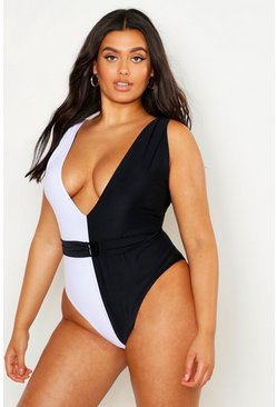 Plus Colour Block Plunge Front Swimsuit, Black, Donna