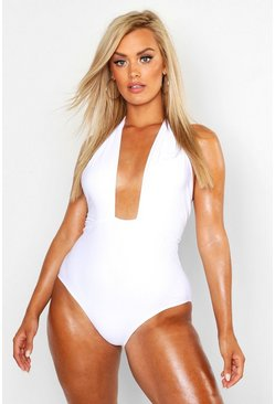 Womens White Plus Plunge High Leg Tie Waist Swimsuit