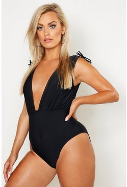 Plus Tie Shoulder Plunge Swimsuit, Black, Donna