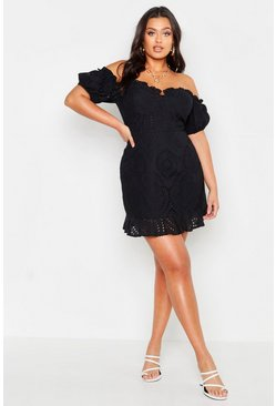 Womens Black Plus Broderie Bodice Ruffle Hem Dress