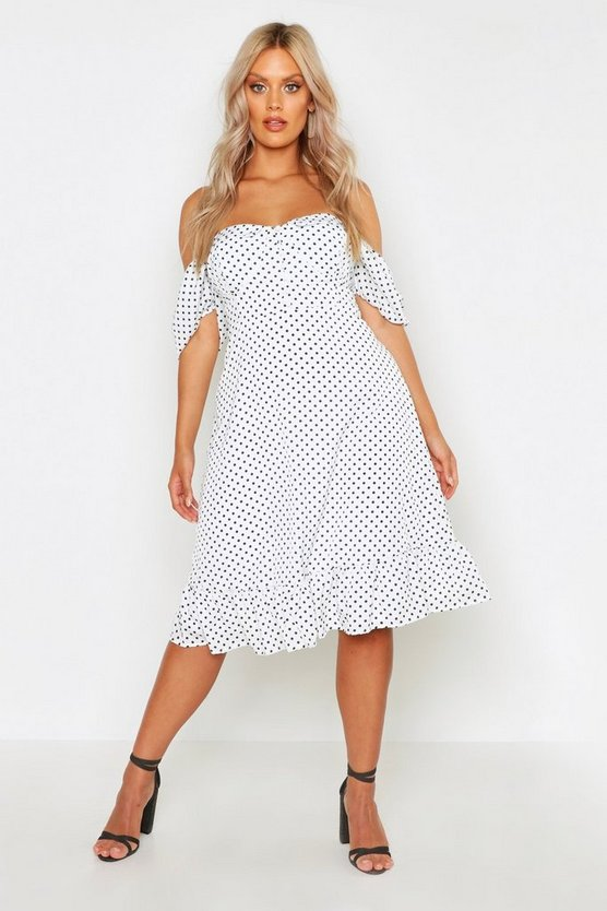 Womens Ivory Plus Off The Shoulder Sweetheart Skater Dress