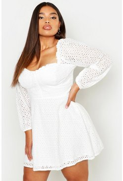 Womens Ivory Plus Broderie Anglaise Sweetheart Skater Dress