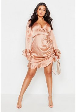 Womens Blush Plus Satin Ruched Flare Sleeve Frill Dress
