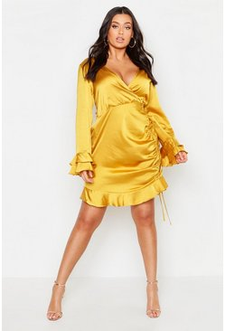 Womens Mustard Plus Satin Ruched Flare Sleeve Frill Dress