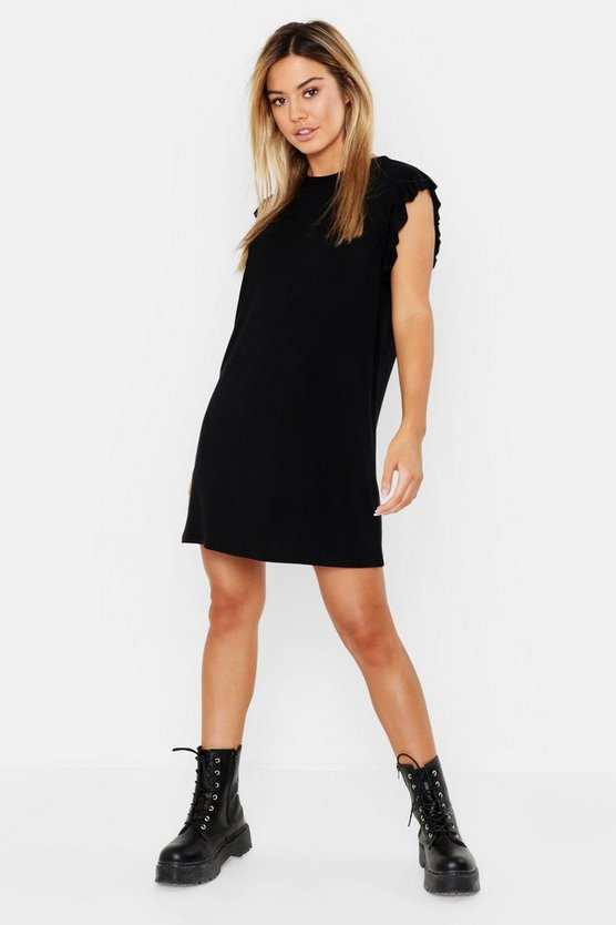 Petite Ruffle Detail Jersey Shift Dress
