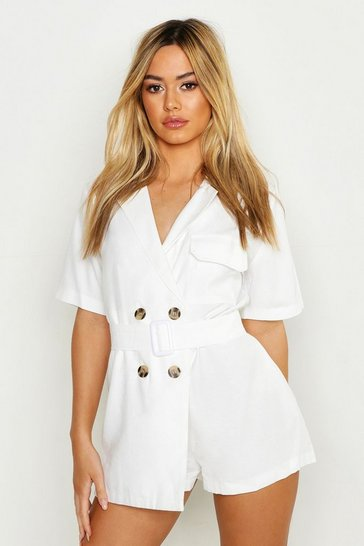 Womens Ivory Petite Linen Utility Belted Playsuit