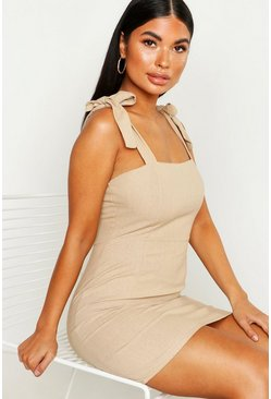 Stone Petite Linen Tie Shoulder Shift Dress