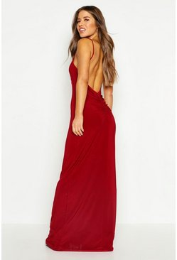 Womens Berry Petite Ruched Low Back Maxi Dress
