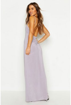 Womens Silver Petite Ruched Low Back Maxi Dress
