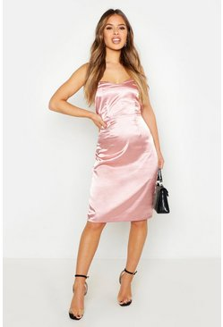 Womens Dusky pink Petite Satin Sweetheart Neck Midi Dress