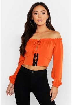 Womens Terracotta Petite Hook and Eye Off The Shoulder Peasant Top