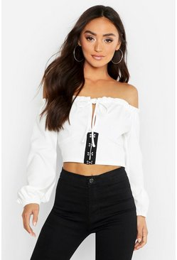 Womens White Petite Hook and Eye Off The Shoulder Peasant Top