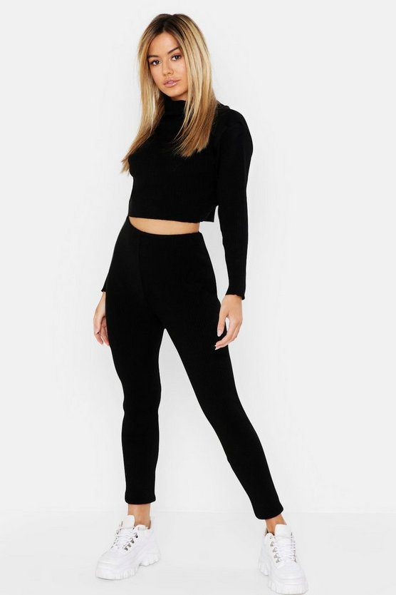 Petite Roll Neck and Legging Knitted Loungewear Set